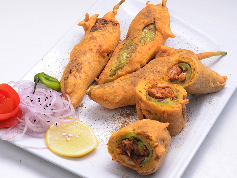 Bread Stuffed Mirchi Bajji
